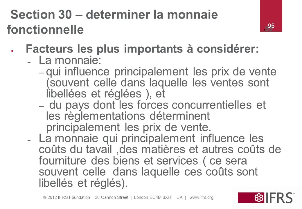 Section 30 – determiner la monnaie fonctionnelle