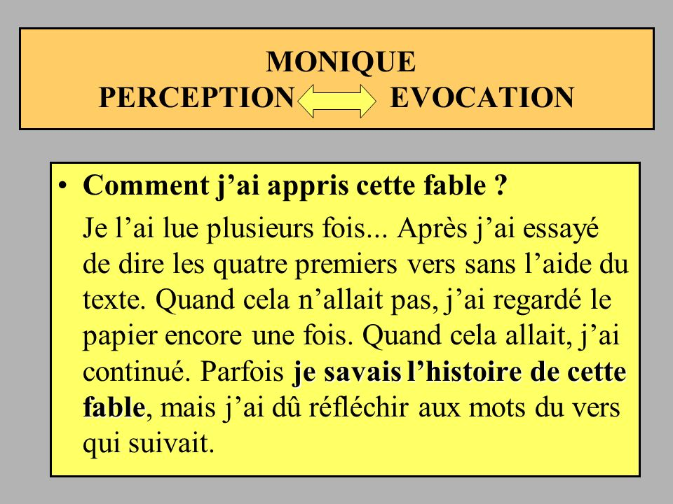 MONIQUE PERCEPTION EVOCATION