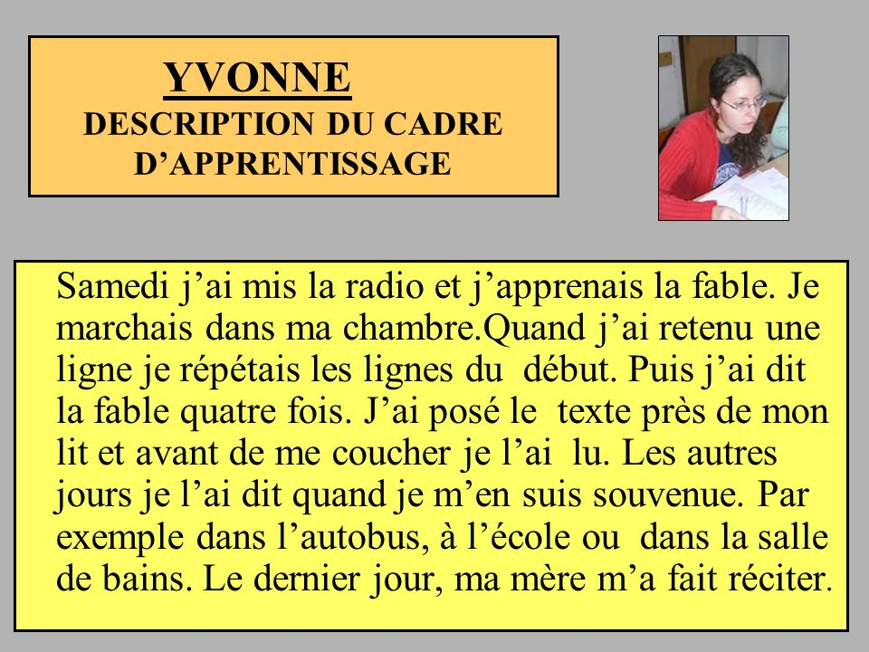 YVONNE DESCRIPTION DU CADRE D'APPRENTISSAGE
