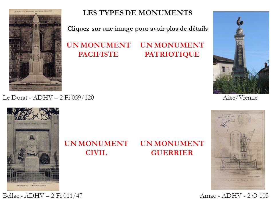 LES TYPES DE MONUMENTS UN MONUMENT PACIFISTE UN MONUMENT PATRIOTIQUE