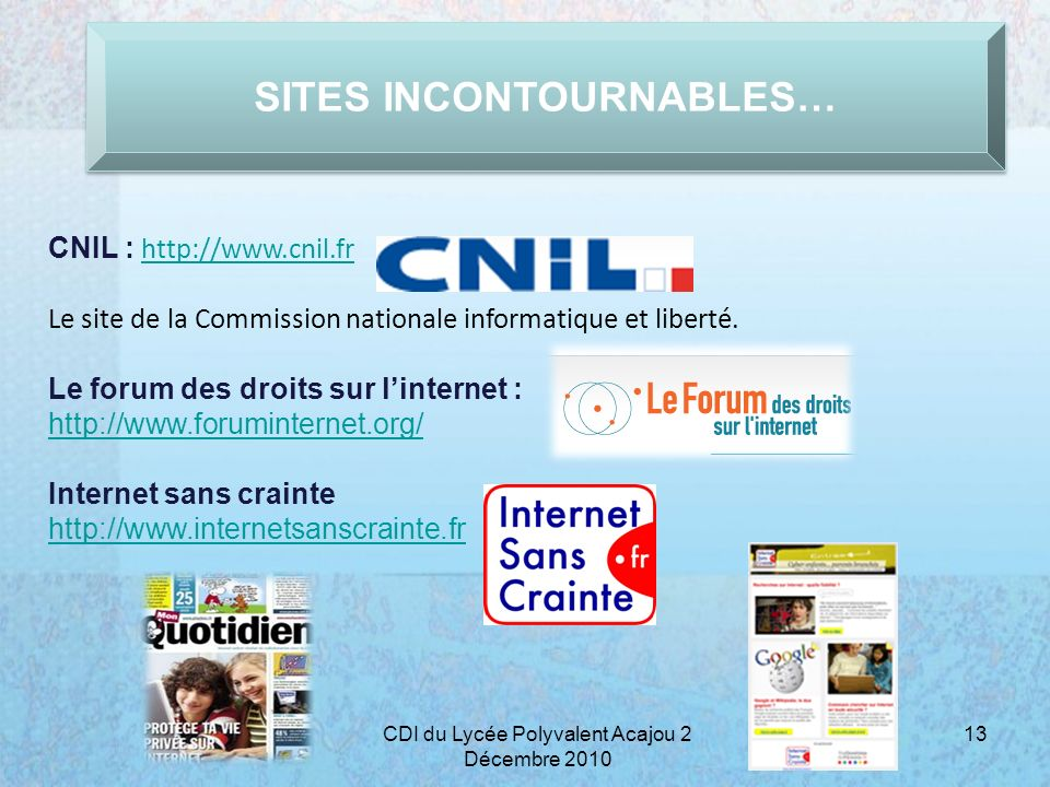 SITES INCONTOURNABLES…