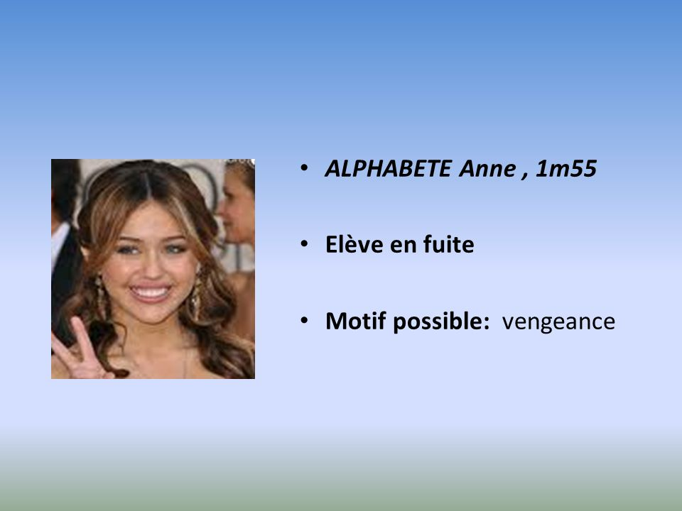 ALPHABETE Anne , 1m55 Elève en fuite Motif possible: vengeance