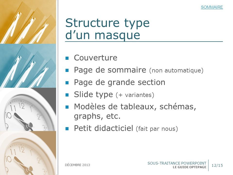 Structure type d'un masque