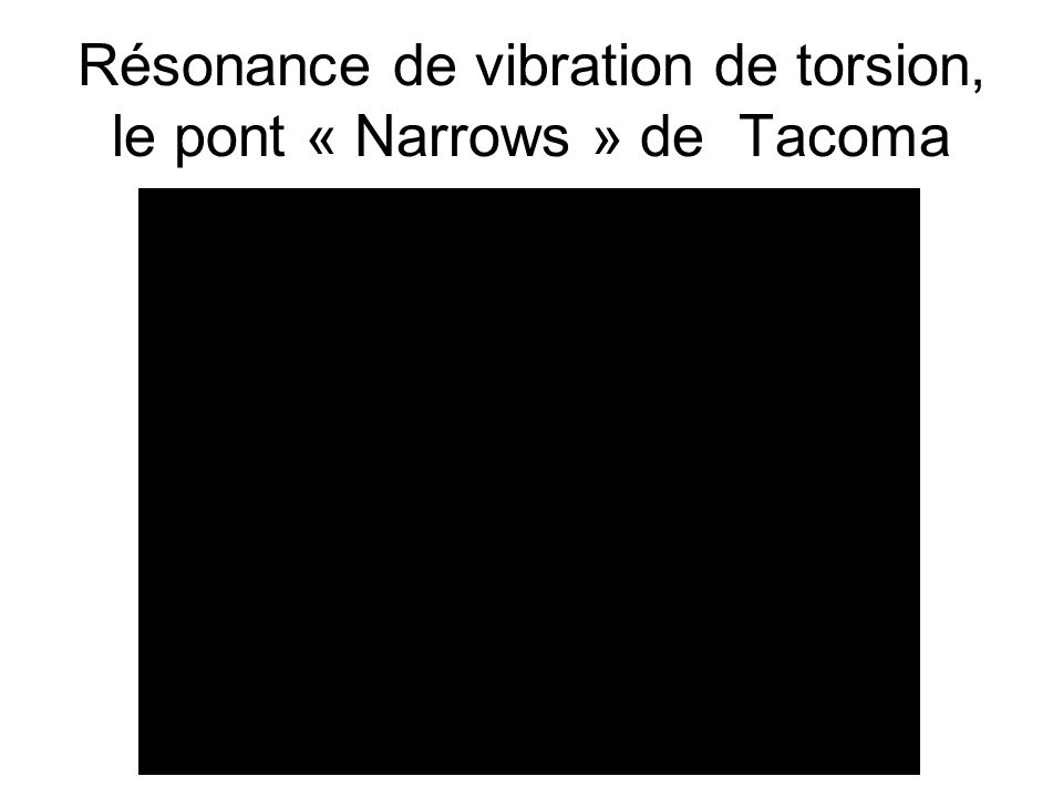 Résonance de vibration de torsion, le pont « Narrows » de Tacoma