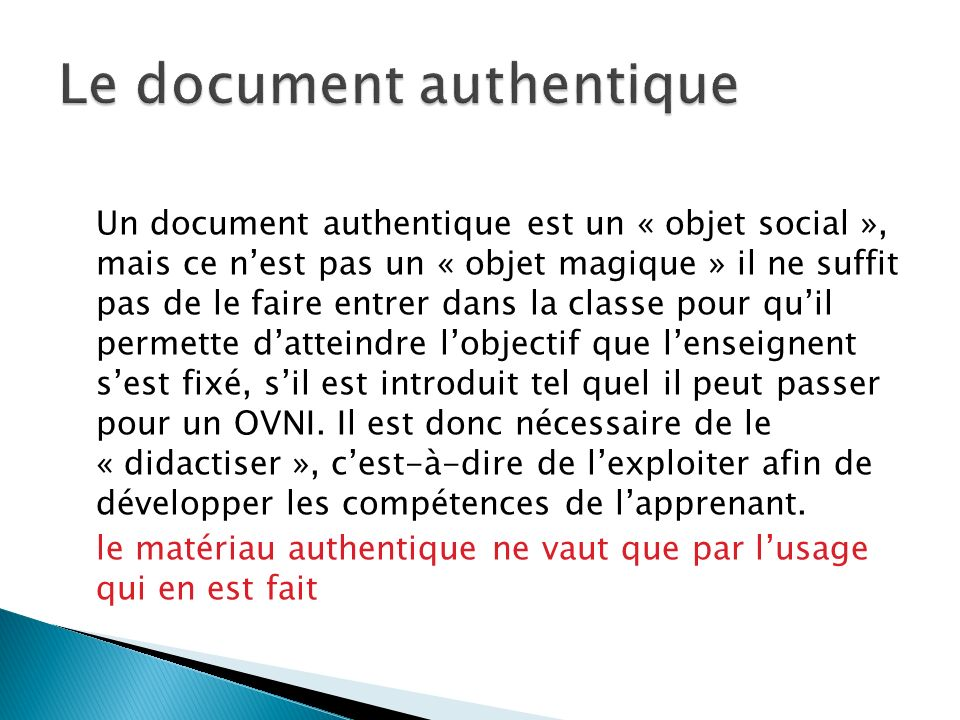 Le document authentique