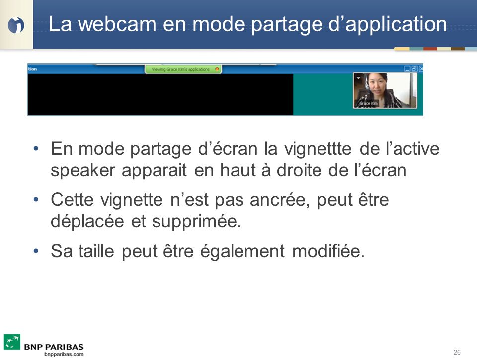 La webcam en mode partage d'application