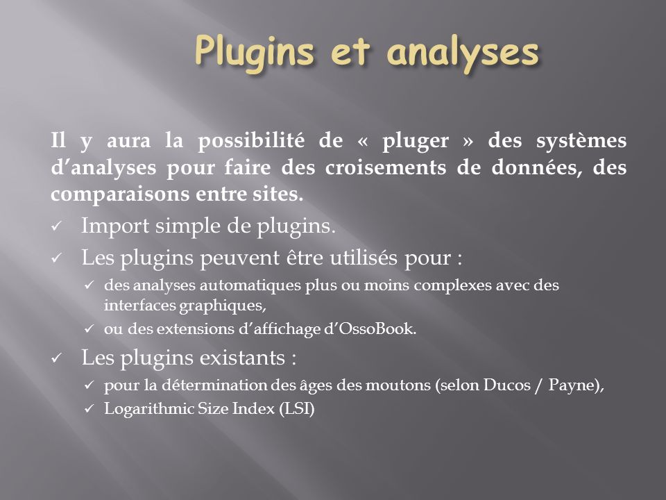 Plugins et analyses