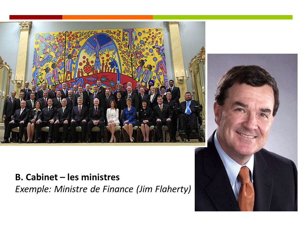B. Cabinet – les ministres Exemple: Ministre de Finance (Jim Flaherty)