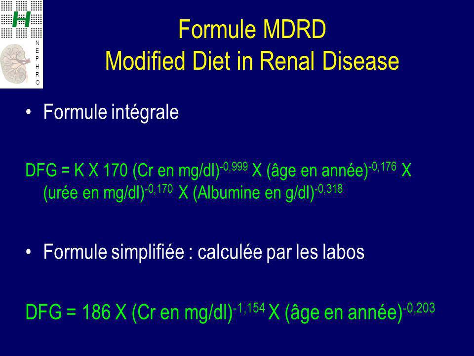 Formule MDRD Modified Diet in Renal Disease