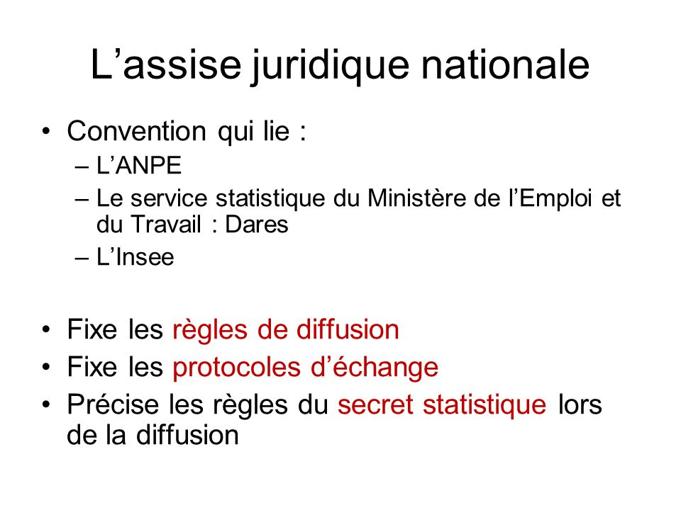 L'assise juridique nationale