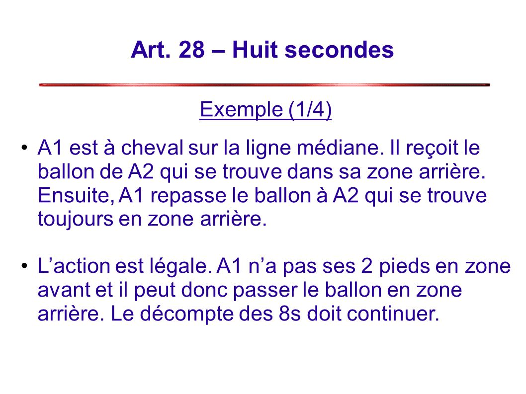 Art. 28 – Huit secondes Exemple (1/4)