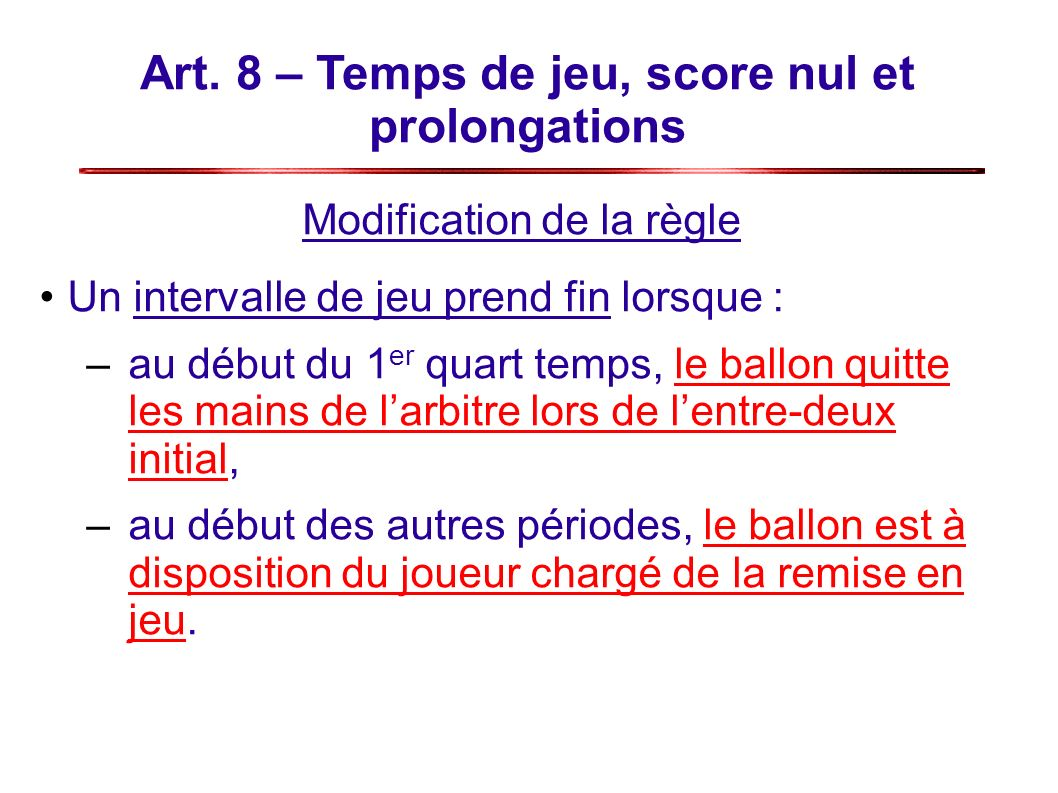Art. 8 – Temps de jeu, score nul et prolongations