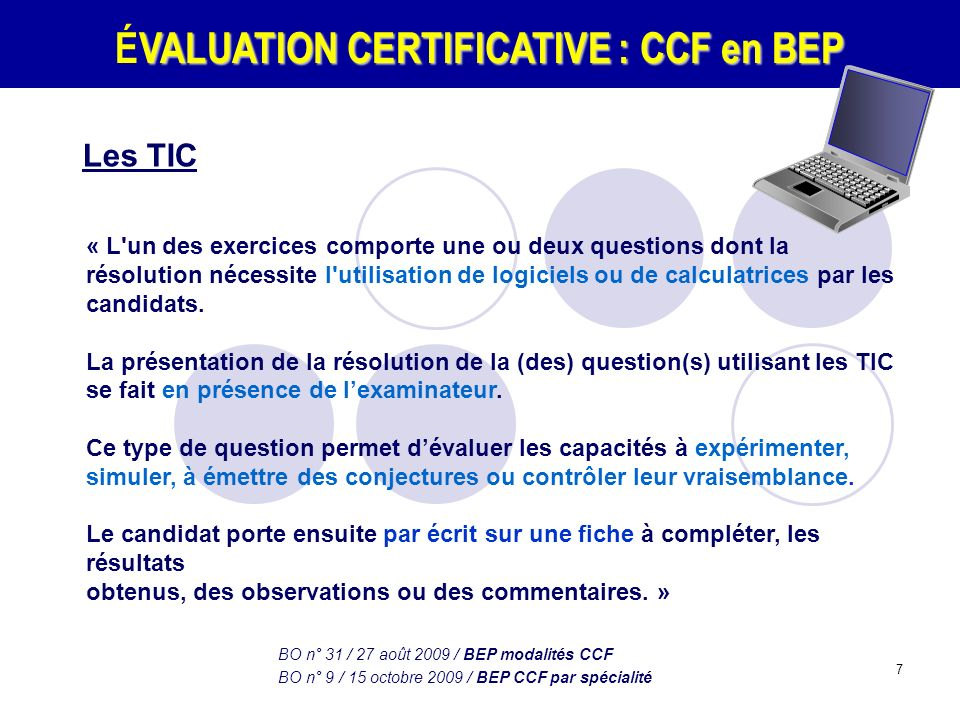 ÉVALUATION CERTIFICATIVE : CCF en BEP