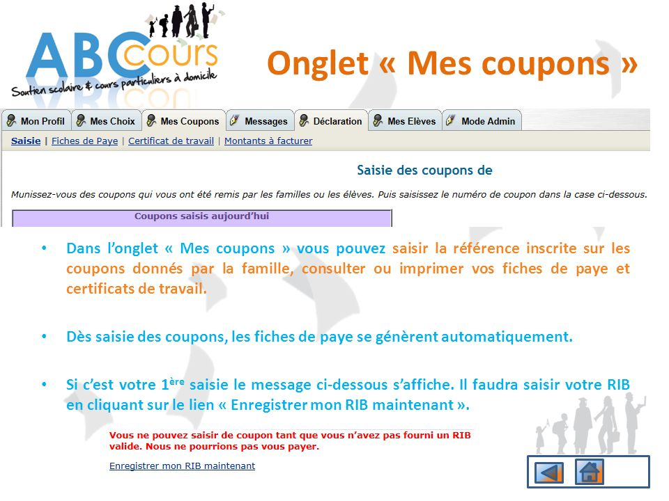 Onglet « Mes coupons »