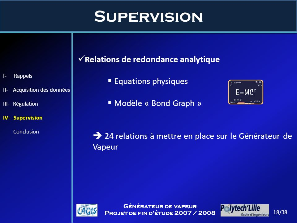 Supervision Relations de redondance analytique Equations physiques