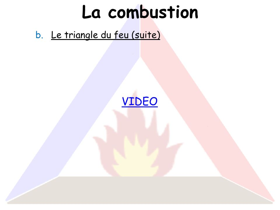 La combustion Le triangle du feu (suite) VIDEO