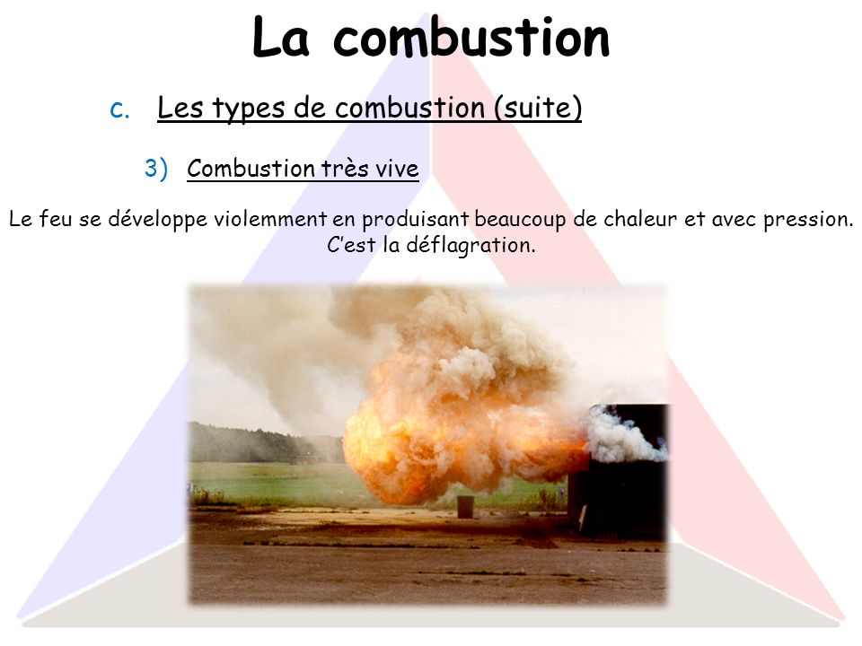 La combustion Les types de combustion (suite) Combustion très vive