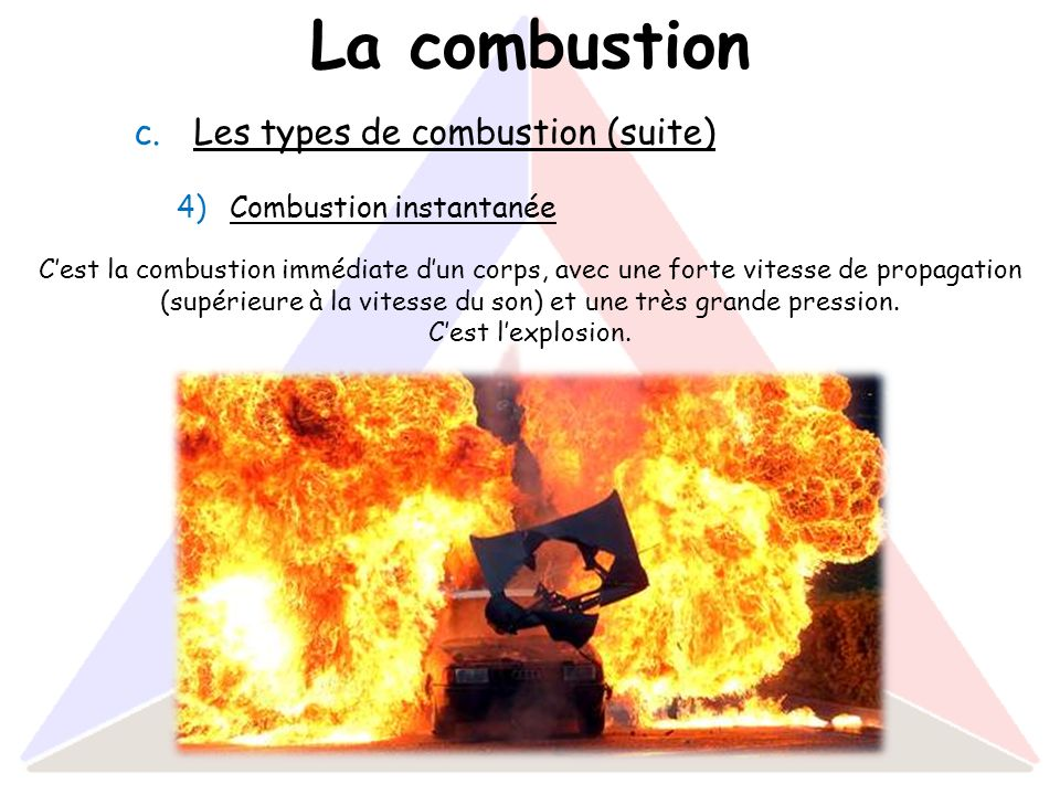 La combustion Les types de combustion (suite) Combustion instantanée