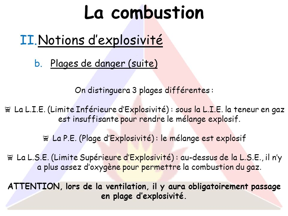 La combustion Notions d'explosivité Plages de danger (suite)