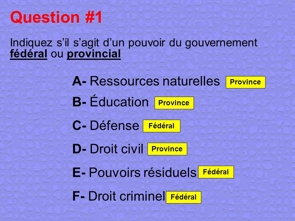 Question #1 A- Ressources naturelles B- Éducation C- Défense
