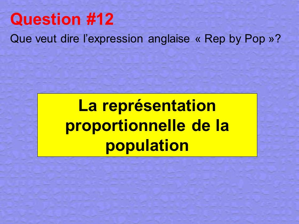 Question #12 Que veut dire l'expression anglaise « Rep by Pop »