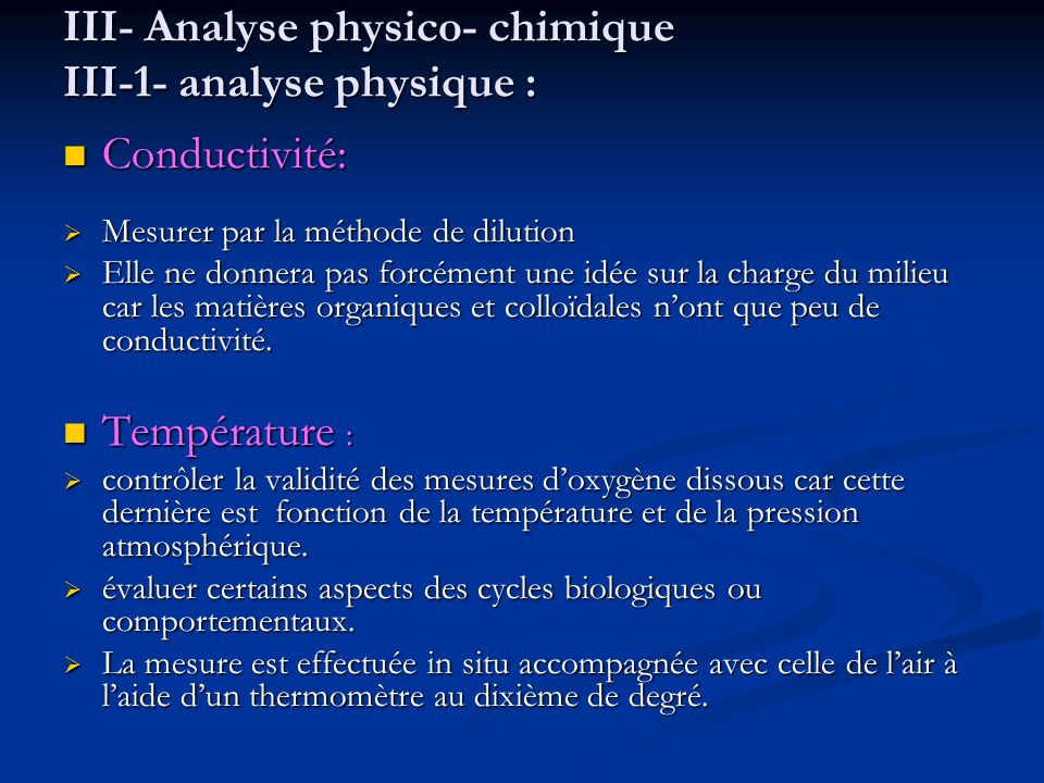 III- Analyse physico- chimique III-1- analyse physique :