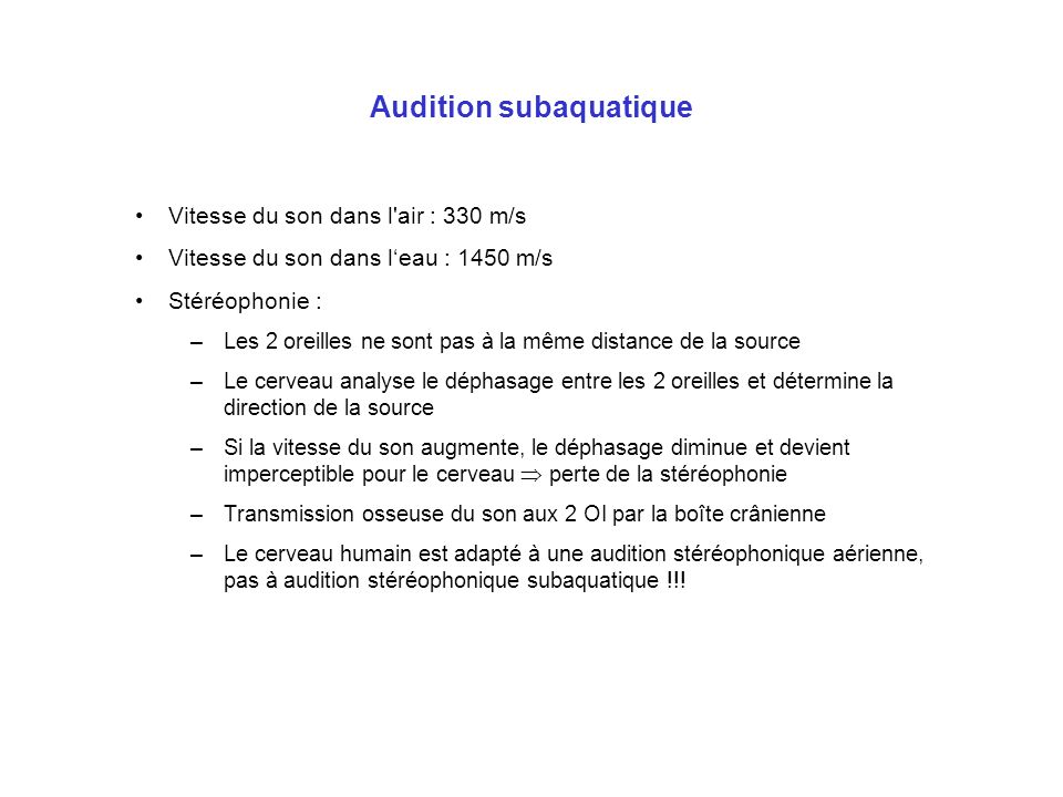 Audition subaquatique
