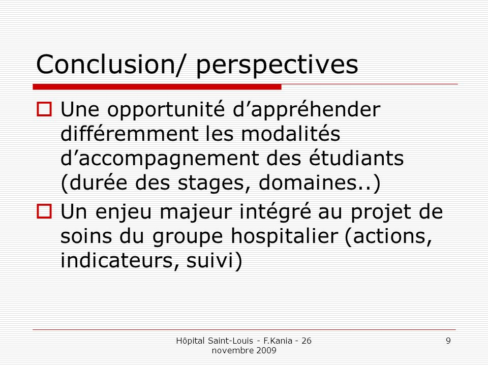Conclusion/ perspectives