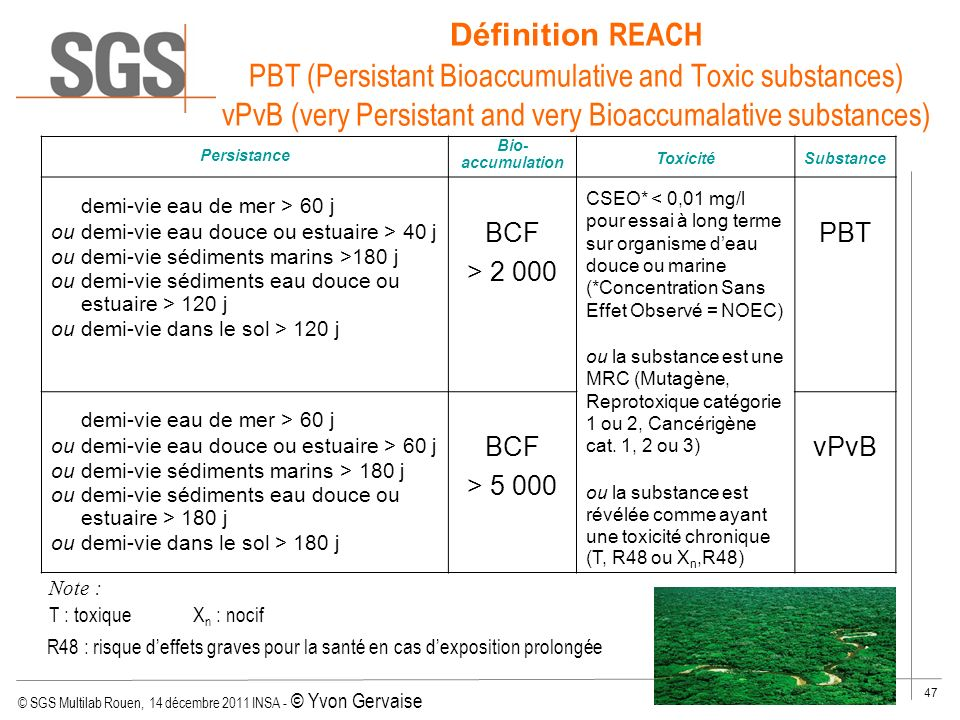 Définition REACH PBT (Persistant Bioaccumulative and Toxic substances) vPvB (very Persistant and very Bioaccumalative substances)