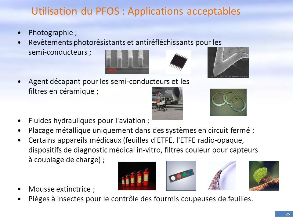 Utilisation du PFOS : Applications acceptables