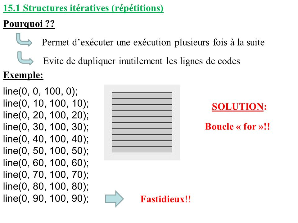 15.1 Structures itératives (répétitions)