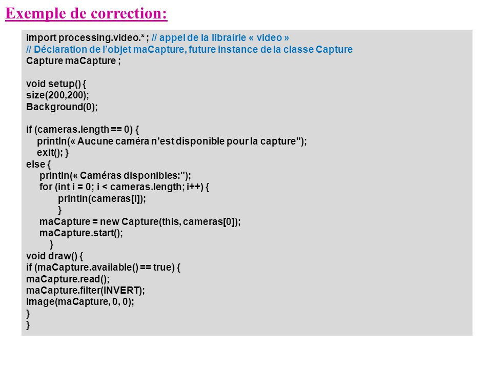 Exemple de correction: