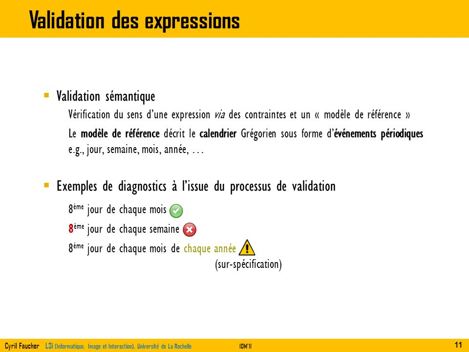 Validation des expressions