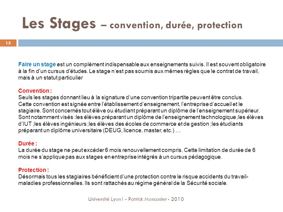 Les Stages – convention, durée, protection