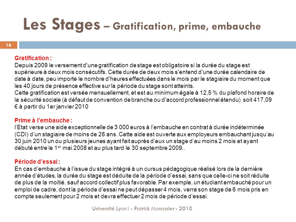 Les Stages – Gratification, prime, embauche