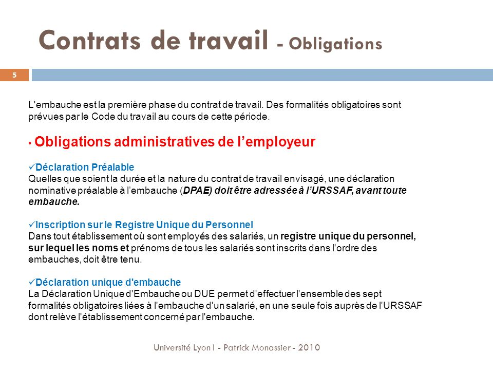 Contrats de travail - Obligations