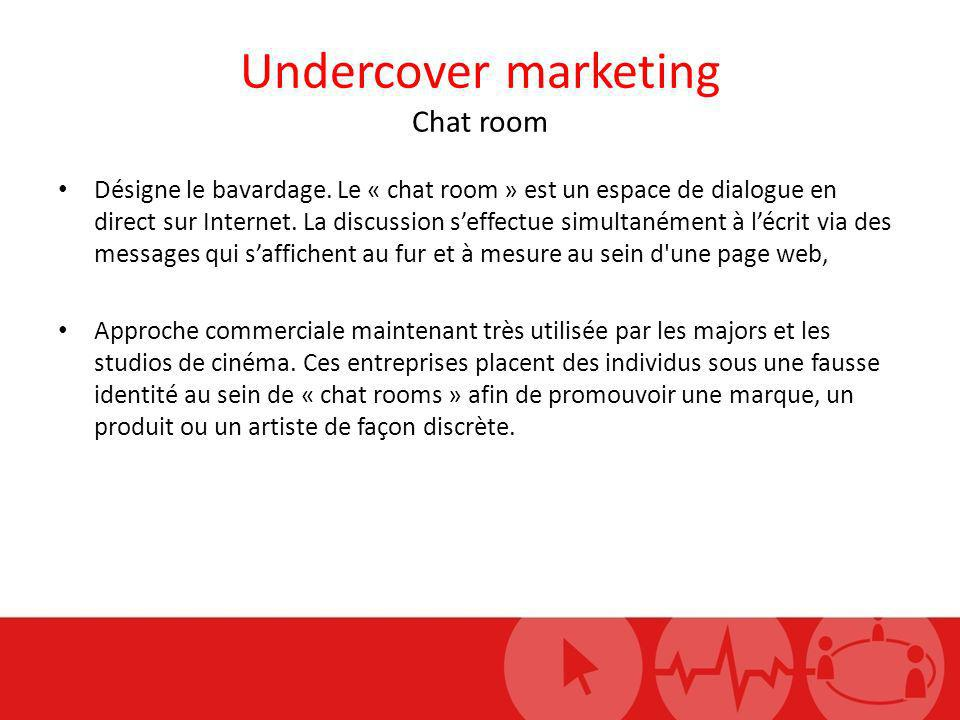 Undercover marketing Chat room