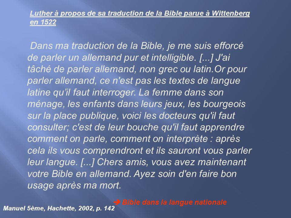 Luther à propos de sa traduction de la Bible parue à Wittenberg en 1522