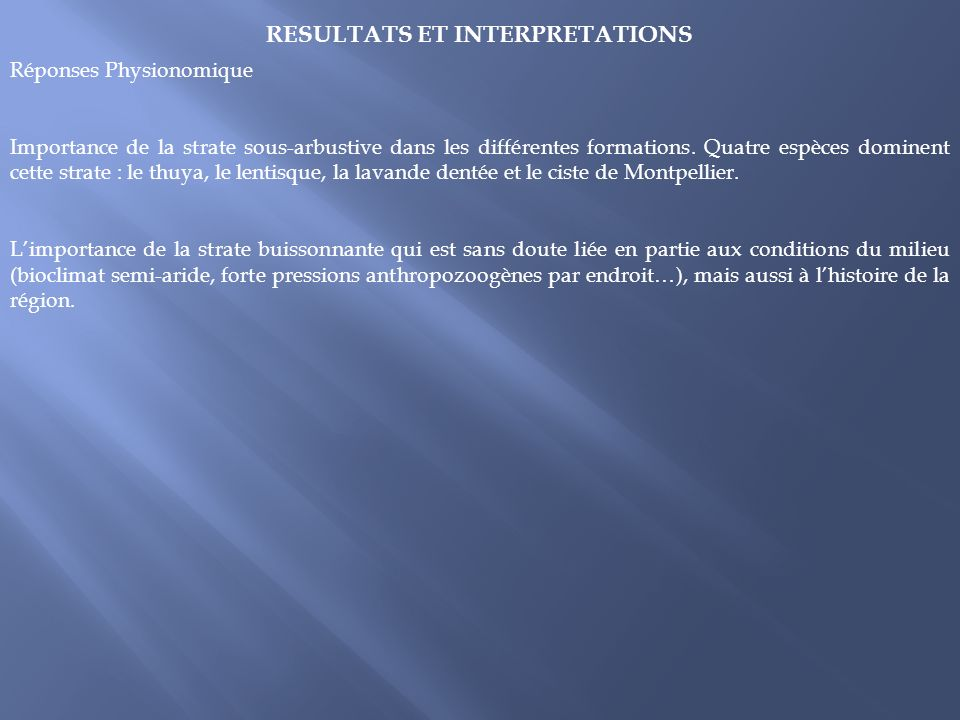 RESULTATS ET INTERPRETATIONS