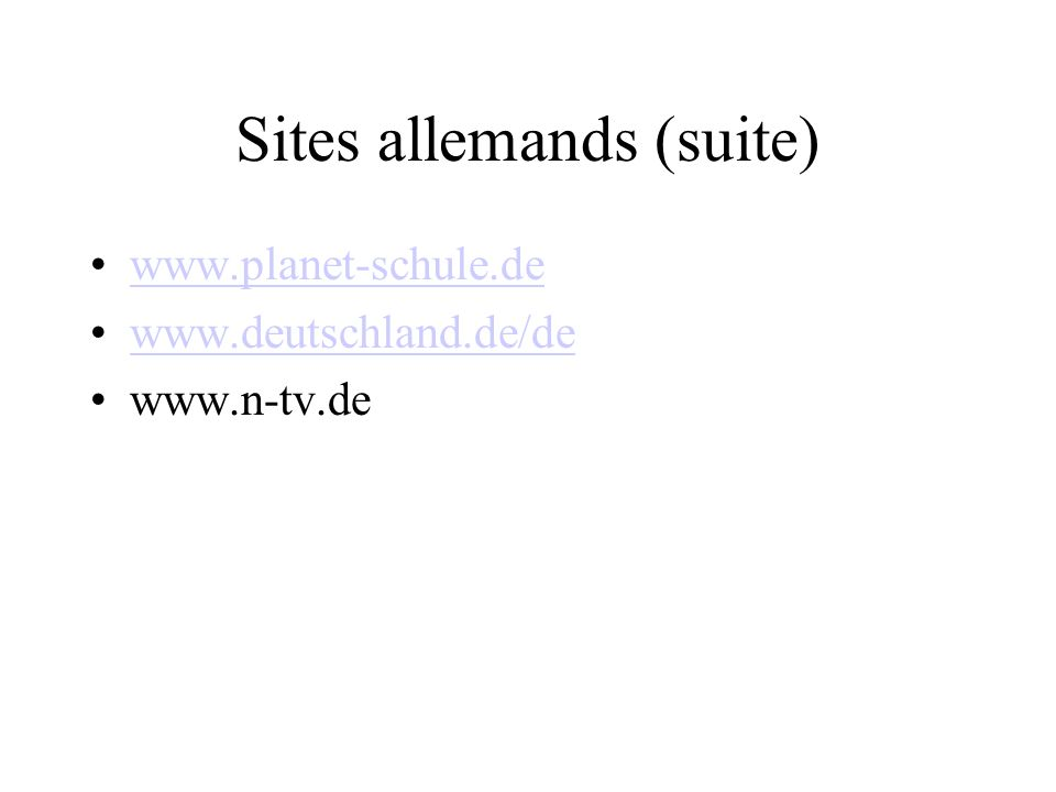 Sites allemands (suite)
