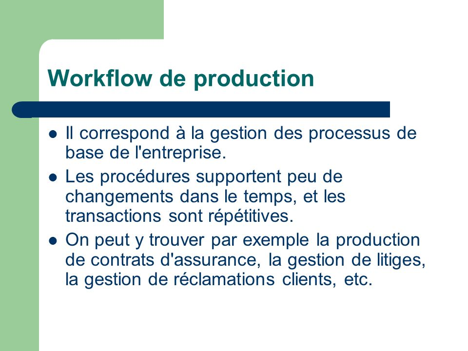 Workflow de production