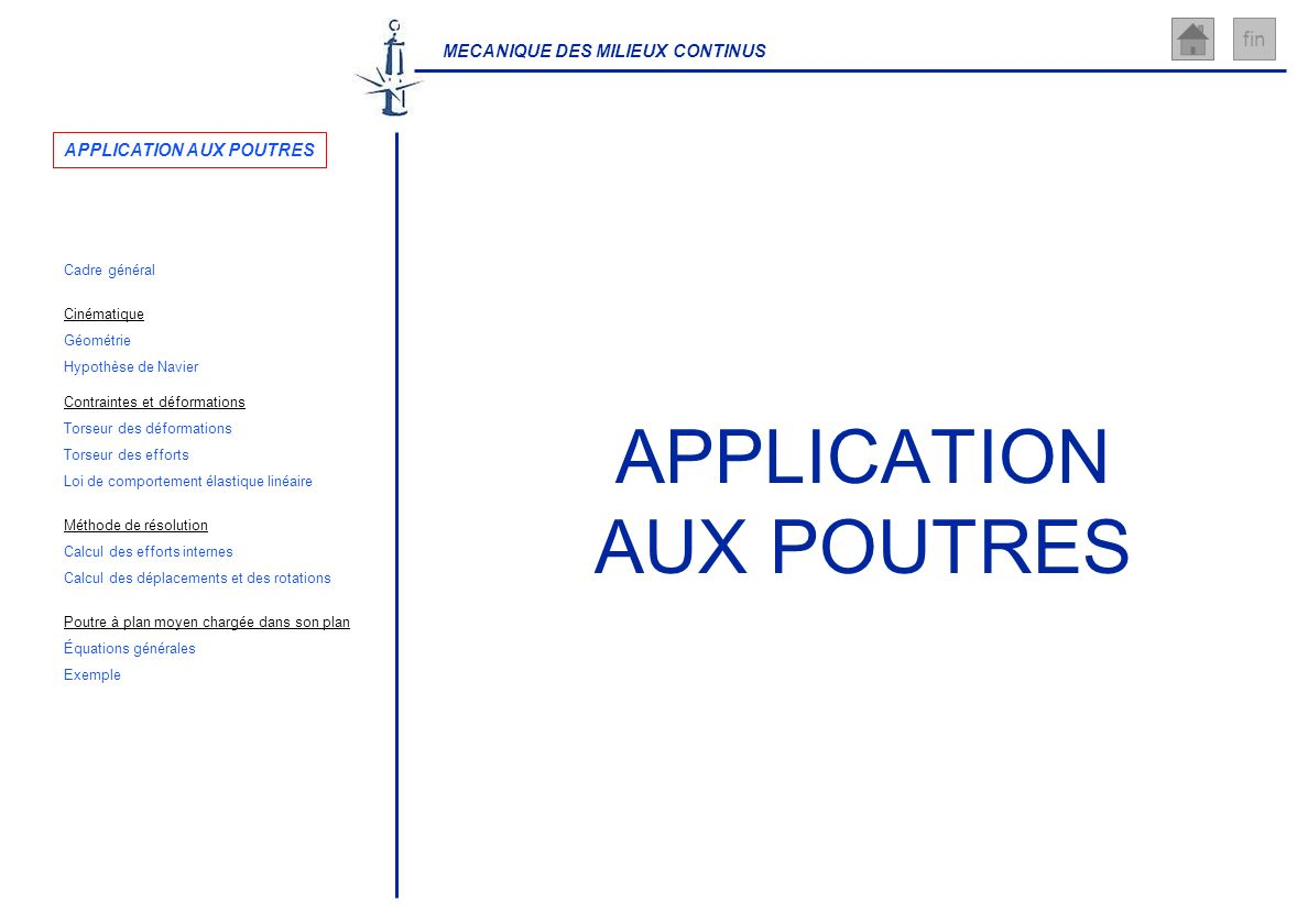APPLICATION AUX POUTRES