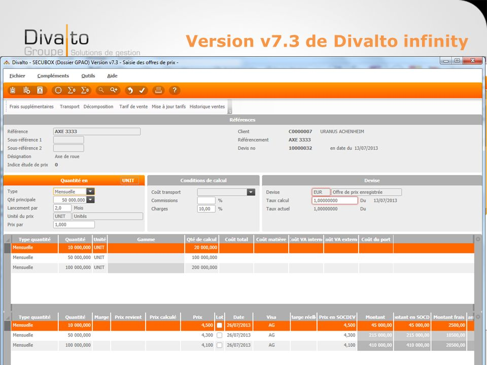 Version v7.3 de Divalto infinity