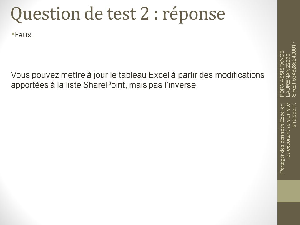 Question de test 2 : réponse