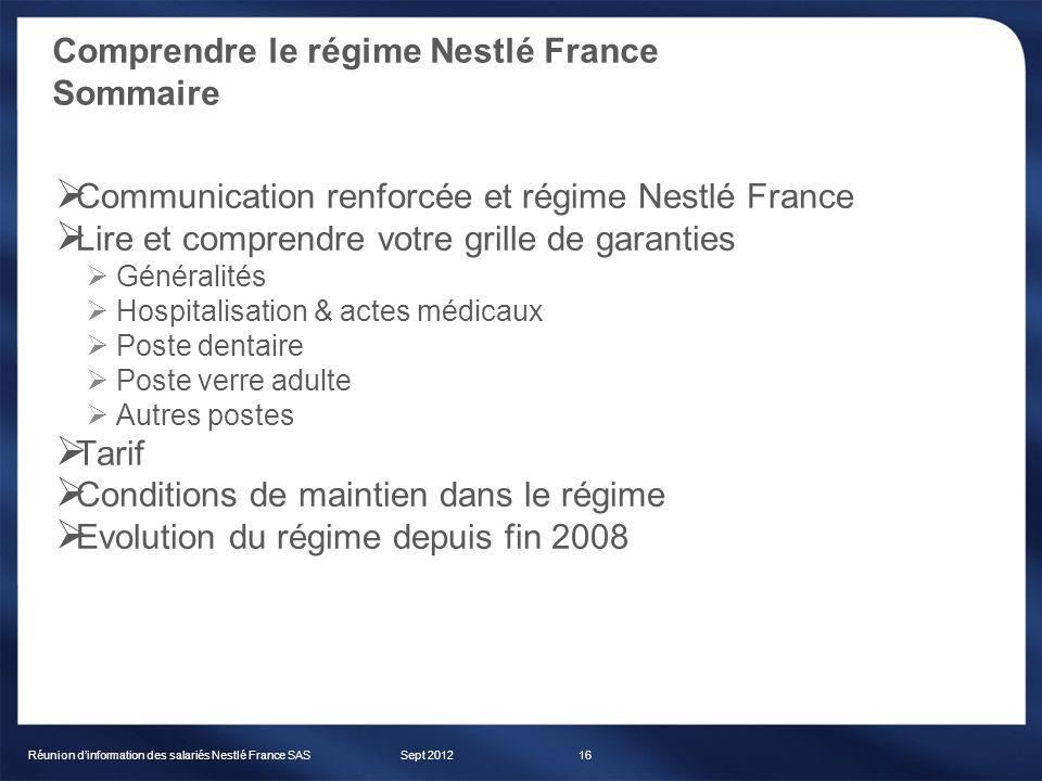 Comprendre le régime Nestlé France Sommaire 1dbc26c63ba2