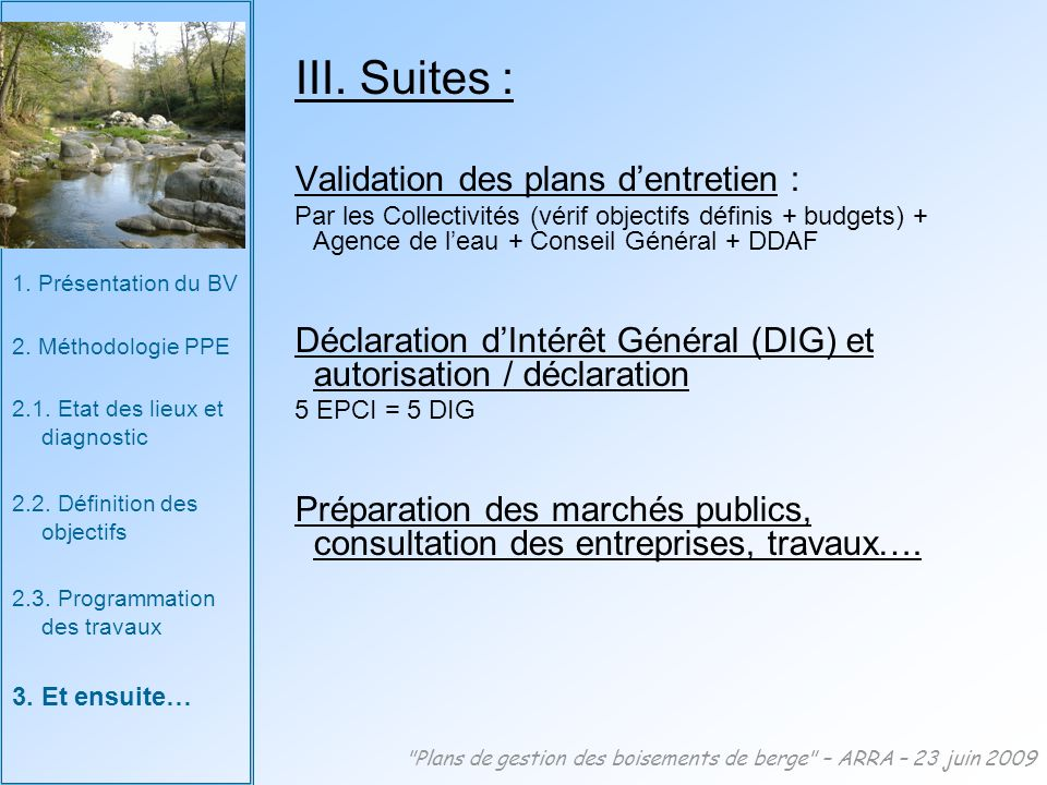 III. Suites : Validation des plans d'entretien :