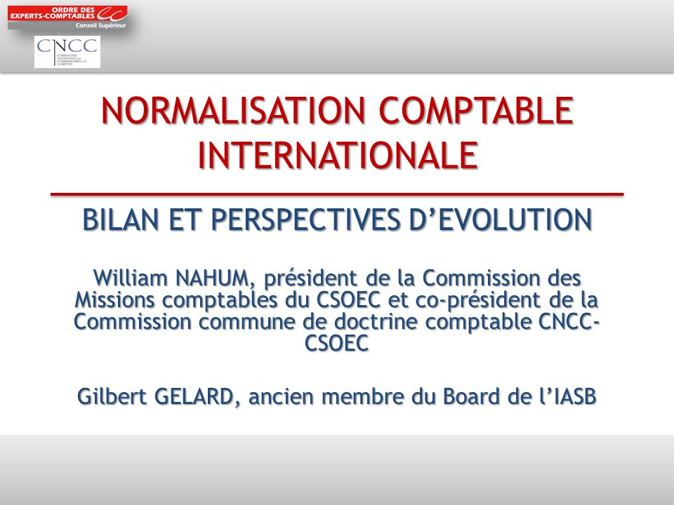 NORMALISATION COMPTABLE INTERNATIONALE