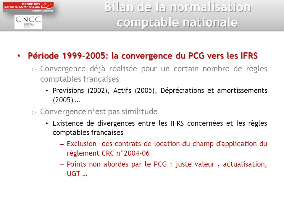Bilan de la normalisation comptable nationale