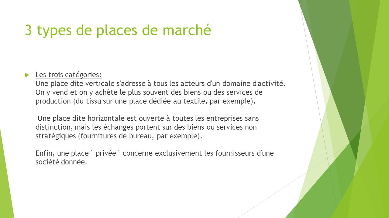3 types de places de marché