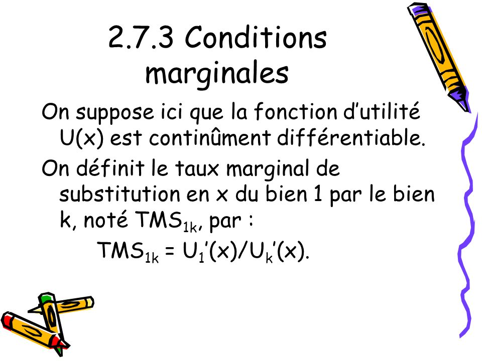 2.7.3 Conditions marginales